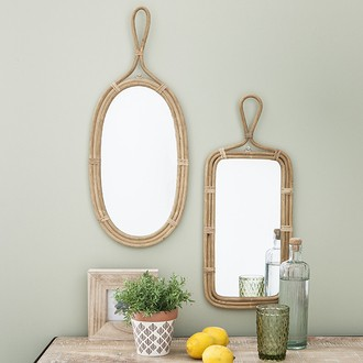 Miroir rotin naturel rectangulaire provençal 59x25cm