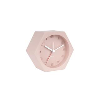 KARLSSON - Réveil hexagone béton rose silencieux 11,5x10x6cm