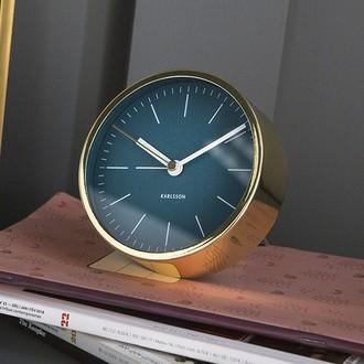 KARLSSON - Réveil minimal bleu et or brillant silencieux 10cm