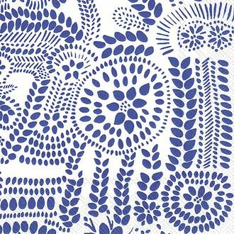 Paquet de 20 serviettes en papier décorées marimekko nasia blanc bleu 33x33