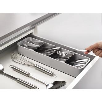 Range-couverts compact en plastique gris 11x39,5x5,7 cm