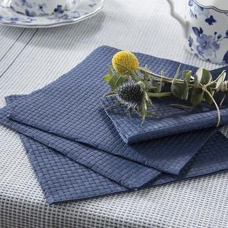 15 serv 33x33 cm linen gaufré bleu foncé