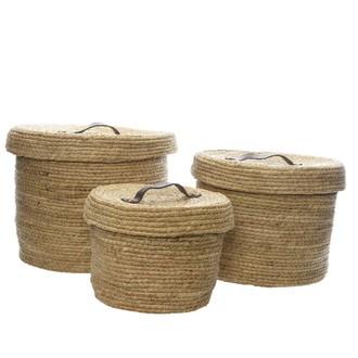 Boîte fibre de maïs rond anse cuir nat 22x17 cm