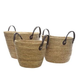 Panier fibre de maïs avec anse en cuir naturel 36x26 cm
