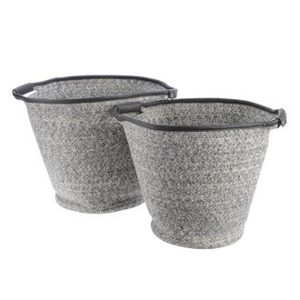 Panier en coton tissé herringbone gris 26x34x45 cm