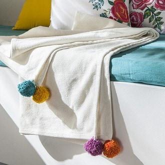Plaid artisanal blanc avec gros pompons multicolor 130x150cm