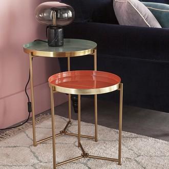 Table aspect laiton plateau émaillé céladon d40xh53cm
