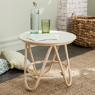 Table en rotin plateau céladon d50cm