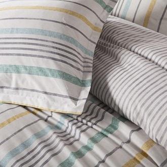 Maom - taie d'oreiller carrée en percale rayée calanques 65x65cm