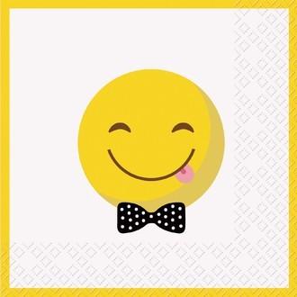 20 Serviettes Emoticone sourire 33x33cm