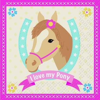 20 Serviettes I love my Pony 33x33cm
