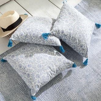 Coussin imprimé à pompons chypre bleu 40x40cm