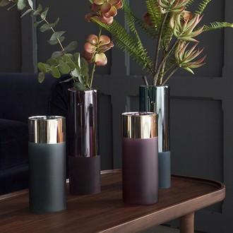 Vase double paroi transparent et opaque pétrole d7,5xh25cm