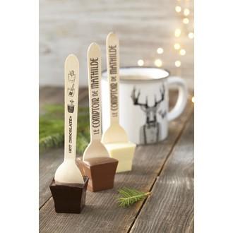 LE COMPTOIR DE MATHILDE - Coffret 3 cuillères hot choc 3 Chocolats (Noir - Lait - Blanc) + 90g