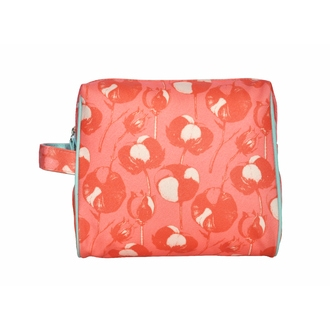 ZODIO - Trousse de toilette en coton enduit corail fleurs de coton - L'incontournable - 20x10x18cm