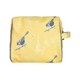 ZODIO - Trousse de toilette en coton enduit jaune oiseaux - L'incontournable - 20x10x18cm