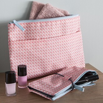 Zodio - trousse de toilette en coton enduit corail minimaliste - la métro boulot soirée - 22x2.5x10cm