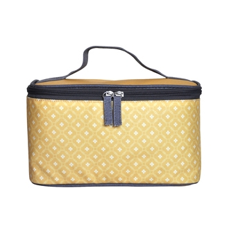 ZODIO - Trousse de toilette en coton enduit jaune carreaux fleuris - The Vanity - 25x12x14cm
