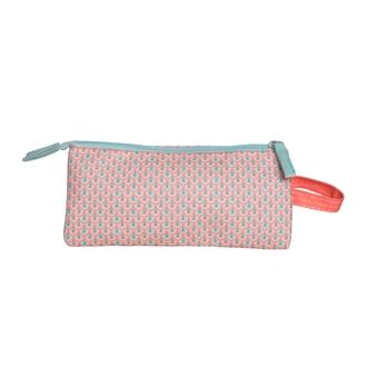 ZODIO - Trousse de toilette en coton enduit corail petites écailles - La 3 en 1 - 25x12x14cm