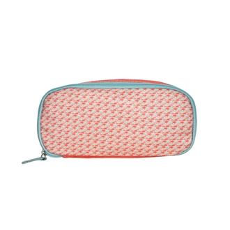 ZODIO - Trousse de toilette en coton enduit corail minimaliste - La baroudeuse coquette - 21x8x10.5cm