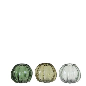 Pot cactus vert clair vert foncé 3 assorti h9xd11cm