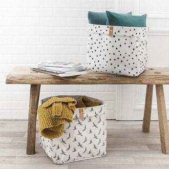 Boîte de rangement en polycoton cube oiseaux beige