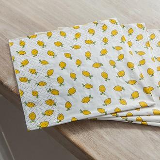 20 serviettes 33x33cm mini citrons