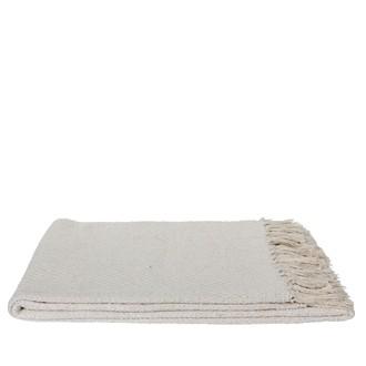 Plaid à franges blanc cassé 130x170cm