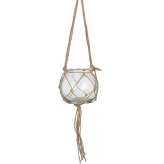 Cache pot boule en verre et macramé corde d15cm