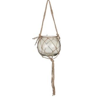 Cache pot boule en verre fumé et macramé corde d15cm
