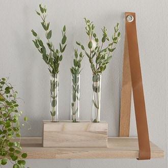 3 soliflores tube avec support en bois brut à poser 16x5xh16cm