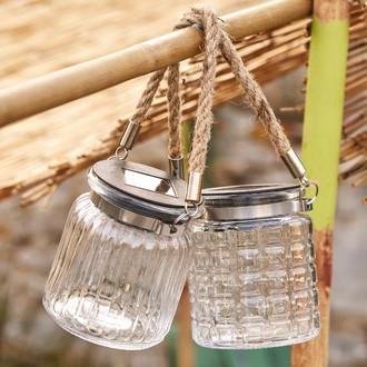 Lanterne solaire bocal à suspendre 5 led d8.5xh15cm