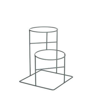 Support pour cache pot double métal vert céladon 30x30xh25cm