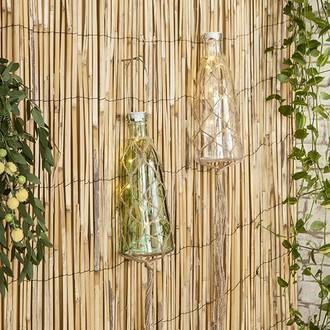 Lanterne bouteille en verre à piles avec macramé corde d10xh27cm