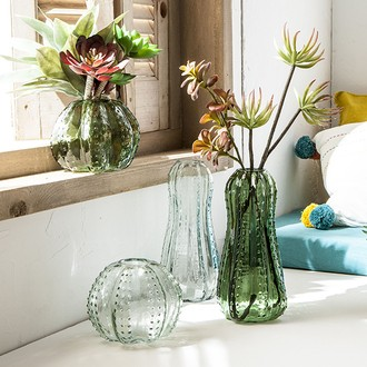 Vase cactus en verre d16xh13cm