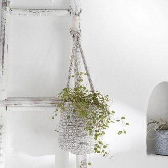 Cache pot à suspendre en coton blanc/gris lombok d15cm