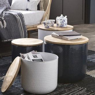 Table coffre métal martelé pétrole couvercle bois de manguier d35xh32cm