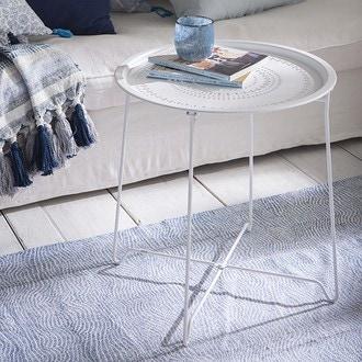 Table métal plateau ajouré blanc mat d54xh52cm