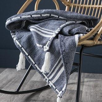 Plaid à franges en coton tissage éthnique bleu/écru 170x130cm