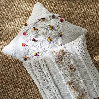 Coussin coton blanc tissage à pompons 45x45cm