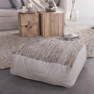 Coussin de sol dessus en cuir recyclé et base coton écru 60x60xh20cm