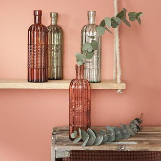 Vase bouteille recyclée d7xh24cm coloris assortis