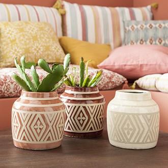 Vase en terre cuite motif ethnique d16.5xh15.5cm