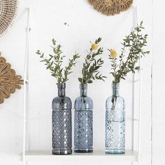 Vase bouteille recyclée bleu d7xh32cm