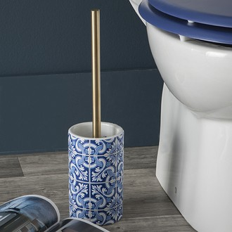 Brosse WC et socle en céramique imprimée bleu Porto