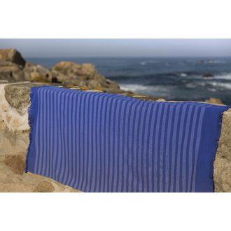 Serviette de plage rayée bleu St Martin 100x180cm