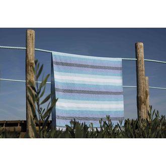 Serviette de plage à rayures bleues Cayo 90x150cm