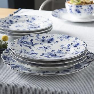 Assiette plate fleurs bleues 27,5cm