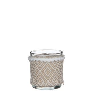 Photophore en verre habillé de tissu marron - h8xd7cm