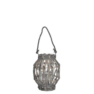 Lanterne grise avec anse en corde - h25xd22cm
